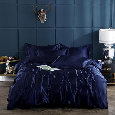 2019新款-冰丝真丝四件套,出口外贸 可卖单件 床单款1.8m(6英尺)床 藏青