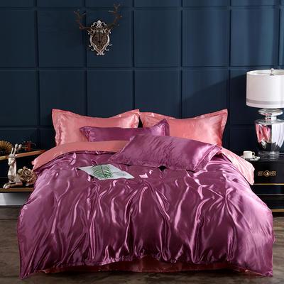 2019新款-冰丝真丝四件套,出口外贸 可卖单件 床单款三件套1.2m(4英尺)床 豆沙玉