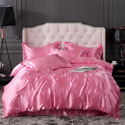 2019新款-冰丝真丝四件套,出口外贸 可卖单件 床单款1.8m(6英尺)床 粉色