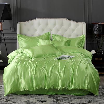 2020夏季新款-水洗冰丝真丝可供跨境亚马逊等冰丝四件套床笠款 床笠款三件套1.2m(4英尺)床 果绿