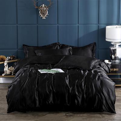2019新款-冰丝真丝四件套,出口外贸 可卖单件 床单款1.8m(6英尺)床 黑色