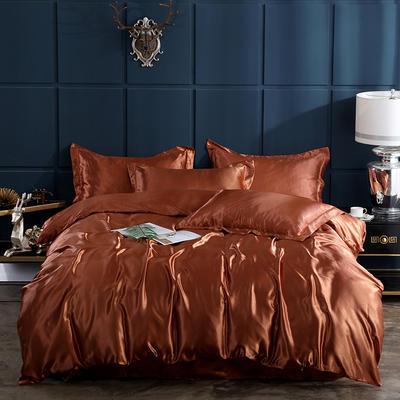 2019新款-冰丝真丝四件套,出口外贸 可卖单件 床单款三件套1.2m(4英尺)床 咖啡
