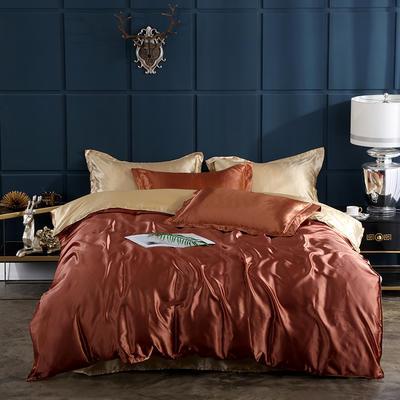 2019新款-冰丝真丝四件套,出口外贸 可卖单件 床单款1.8m(6英尺)床 咖啡驼