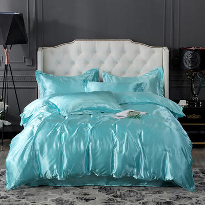 2019新款-冰丝真丝四件套,出口外贸 可卖单件 床单款1.8m(6英尺)床 水蓝