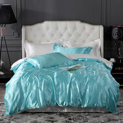 2019新款-冰丝真丝四件套,出口外贸 可卖单件 床单款1.8m(6英尺)床 水蓝白