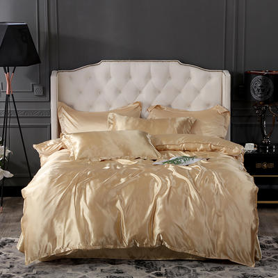 2019新款-冰丝真丝四件套,出口外贸 可卖单件 床单款1.8m(6英尺)床 驼色