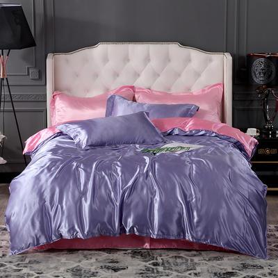 2019新款-冰丝真丝四件套,出口外贸 可卖单件 床单款1.8m(6英尺)床 雪青粉