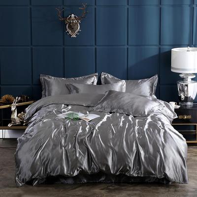 2019新款-冰丝真丝四件套,出口外贸 可卖单件 床单款三件套1.2m(4英尺)床 银灰