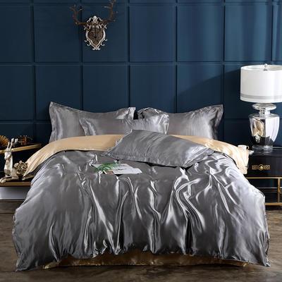 2019新款-冰丝真丝四件套,出口外贸 可卖单件 床单款1.8m(6英尺)床 银灰驼