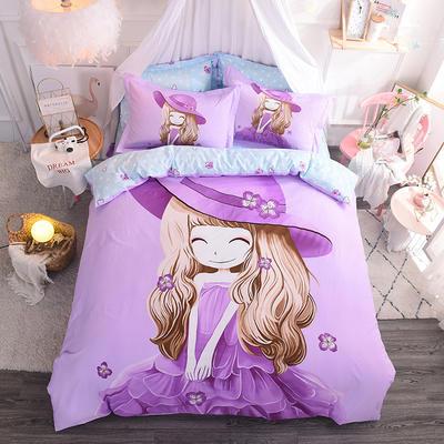 2019新款-全棉13070大版卡通四件套(只做标准号) 1.8m(6英尺)床 紫薇姑娘