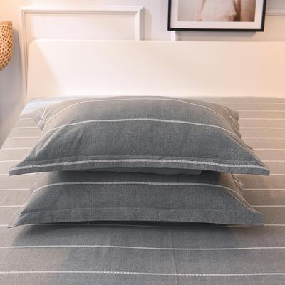 2019新款全棉活性生态磨毛单枕套 48cmX74cm/对 欧陆风情灰