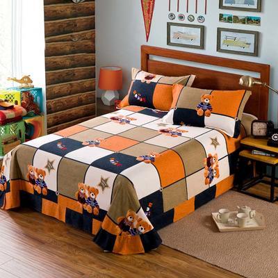 2020新款全棉活性生态磨毛纯棉单床单 180x240cm 绅士熊