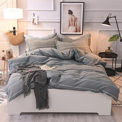 2019新款全棉活性生态磨毛四件套 1.2m(床单款三件套) 欧陆风情灰