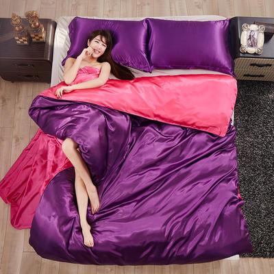 2020夏季新款-水洗冰丝真丝单被套可供跨境亚马逊等 150x200cm 深紫玫红