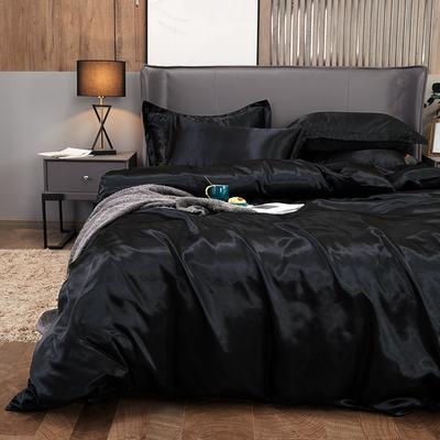 2020夏季新款-水洗冰丝真丝单床单 可供跨境亚马逊等 170cmx230cm 黑色