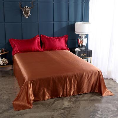 2020夏季新款-水洗冰丝真丝单床单 可供跨境亚马逊等 170cmx230cm 酒红咖