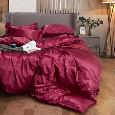 2020夏季新款-水洗冰丝真丝单床单 可供跨境亚马逊等 170cmx230cm 酒红色