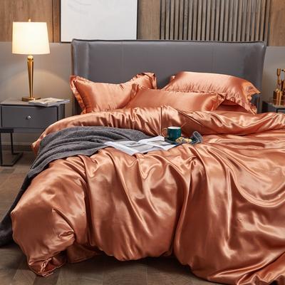 2020夏季新款-水洗冰丝真丝单床单 可供跨境亚马逊等 170cmx230cm 咖啡色