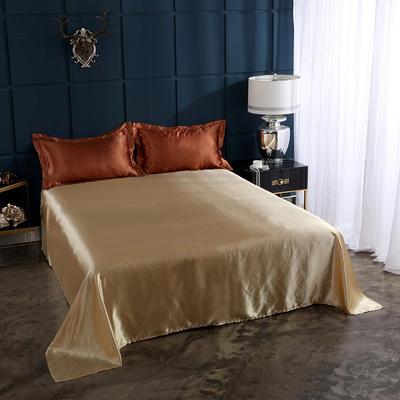 2020夏季新款-水洗冰丝真丝单床单 可供跨境亚马逊等 170cmx230cm 咖啡驼