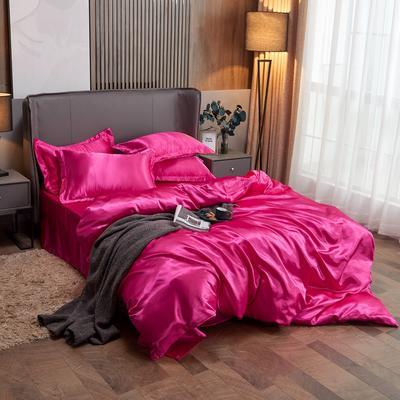 2020夏季新款-水洗冰丝真丝单床单 可供跨境亚马逊等 170cmx230cm 玫红色