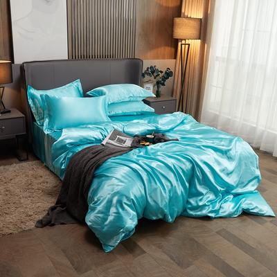 2020夏季新款-水洗冰丝真丝单床单 可供跨境亚马逊等 170cmx230cm 水蓝色
