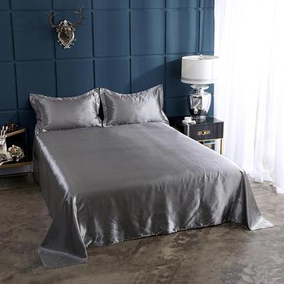 2020夏季新款-水洗冰丝真丝单床单 可供跨境亚马逊等 170cmx230cm 银灰