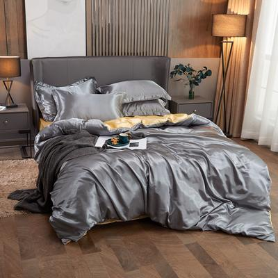 2020夏季新款-水洗冰丝真丝单床单 可供跨境亚马逊等 170cmx230cm 银灰驼