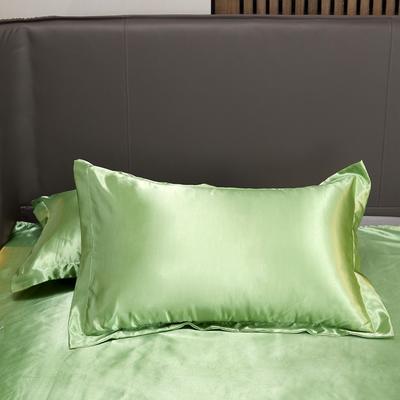 2020夏季新款-水洗冰丝真丝单枕套 可供跨境亚马逊等 48cmX74cm/对 琥珀绿