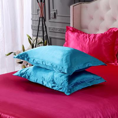 2020夏季新款-水洗冰丝真丝单枕套 可供跨境亚马逊等 48cmX74cm/对 湖蓝玫红