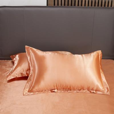 2020夏季新款-水洗冰丝真丝单枕套 可供跨境亚马逊等 48cmX74cm/对 姜黄色