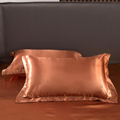 2020夏季新款-水洗冰丝真丝单枕套 可供跨境亚马逊等 48cmX74cm/对 咖啡色