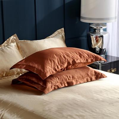 2020夏季新款-水洗冰丝真丝单枕套 可供跨境亚马逊等 48cmX74cm/对 咖啡驼