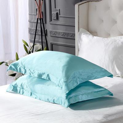 2020夏季新款-水洗冰丝真丝单枕套 可供跨境亚马逊等 48cmX74cm/对 水蓝白