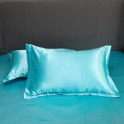 2020夏季新款-水洗冰丝真丝单枕套 可供跨境亚马逊等 48cmX74cm/对 水蓝色
