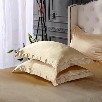 2020夏季新款-水洗冰丝真丝单枕套 可供跨境亚马逊等 48cmX74cm/对 驼色