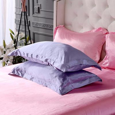2020夏季新款-水洗冰丝真丝单枕套 可供跨境亚马逊等 48cmX74cm/对 雪青粉