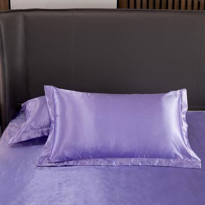 2020夏季新款-水洗冰丝真丝单枕套 可供跨境亚马逊等 48cmX74cm/对 雪青色