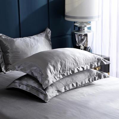 2020夏季新款-水洗冰丝真丝单枕套 可供跨境亚马逊等 48cmX74cm/对 银灰