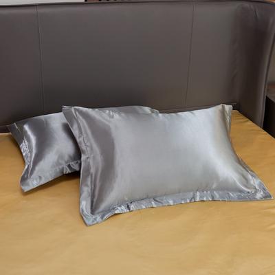 2020夏季新款-水洗冰丝真丝单枕套 可供跨境亚马逊等 48cmX74cm/对 银灰驼