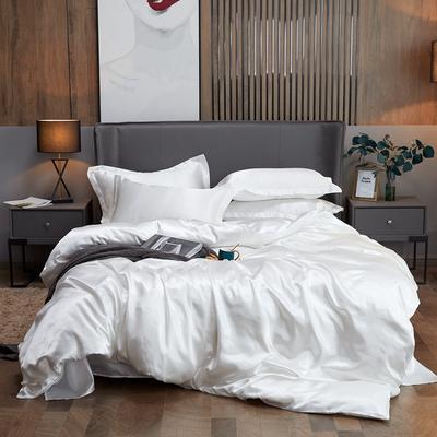 2020夏季新款-水洗冰丝真丝单被套可供跨境亚马逊等冰丝四件套床单款 床单款三件套1.2m(4英尺)床 白色