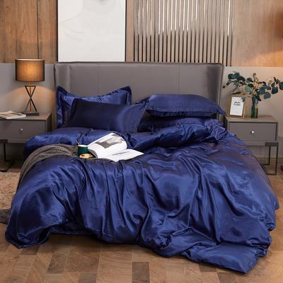 2020夏季新款-水洗冰丝真丝可供跨境亚马逊等冰丝四件套床笠款 床笠款三件套1.2m(4英尺)床 藏蓝色