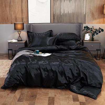 2020夏季新款-水洗冰丝真丝可供跨境亚马逊等冰丝四件套床笠款 床笠款三件套1.2m(4英尺)床 黑色