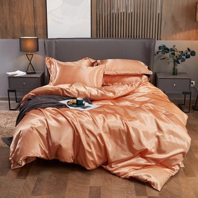 2020夏季新款-水洗冰丝真丝可供跨境亚马逊等冰丝四件套床笠款 床笠款三件套1.2m(4英尺)床 姜黄色