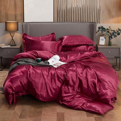 2020夏季新款-水洗冰丝真丝可供跨境亚马逊等冰丝四件套床笠款 床笠款四件套1.2m(4英尺)床 酒红色