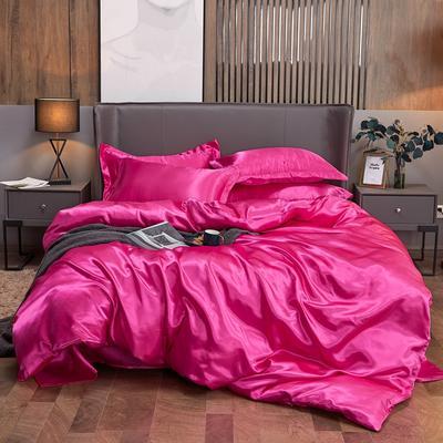 2020夏季新款-水洗冰丝真丝可供跨境亚马逊等冰丝四件套床笠款 床笠款三件套1.2m(4英尺)床 玫红色
