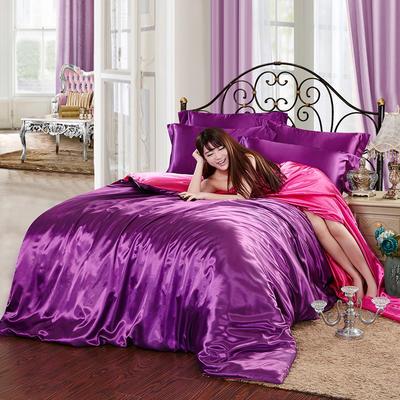 2020夏季新款-水洗冰丝真丝可供跨境亚马逊等冰丝四件套床笠款 床笠款三件套1.2m(4英尺)床 深紫玫红