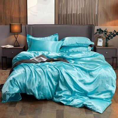 2020夏季新款-水洗冰丝真丝可供跨境亚马逊等冰丝四件套床笠款 床笠款三件套1.2m(4英尺)床 水蓝色