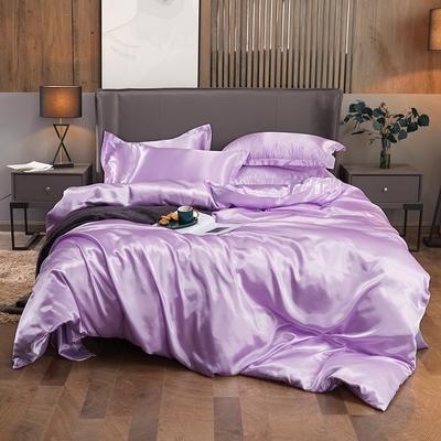 2020夏季新款-水洗冰丝真丝可供跨境亚马逊等冰丝四件套床笠款 床笠款三件套1.2m(4英尺)床 香芋紫
