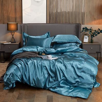 2020夏季新款-水洗冰丝真丝可供跨境亚马逊等冰丝四件套床笠款 床笠款四件套1.2m(4英尺)床 月光蓝