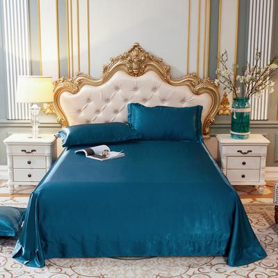 2020新款升级好面料水洗冰丝真丝单床单 230cm*250cm 巴黎蓝